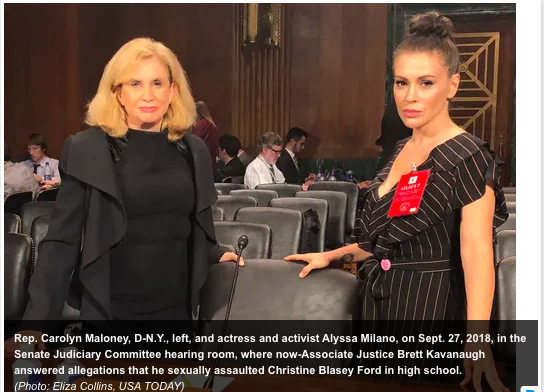 Rep. Carolyn Maloney and Alyssa Milano